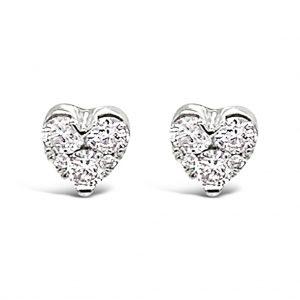 white gold heart-shaped diamond studs