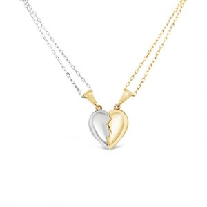 two-tones heart necklace - valentines day gift idea